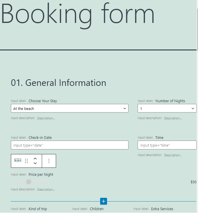 booking multi step form pattern first step