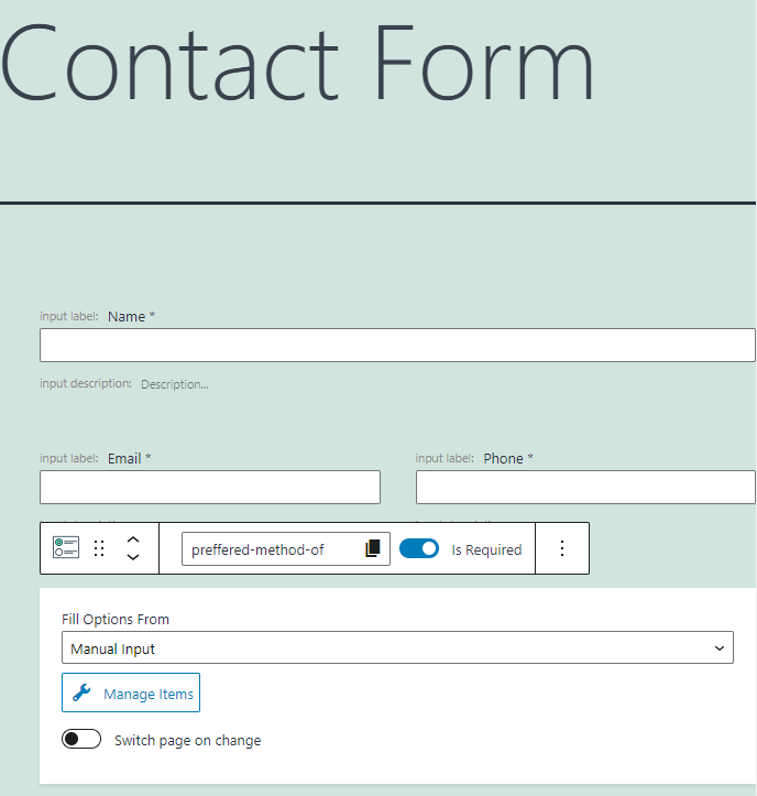contact form pattern