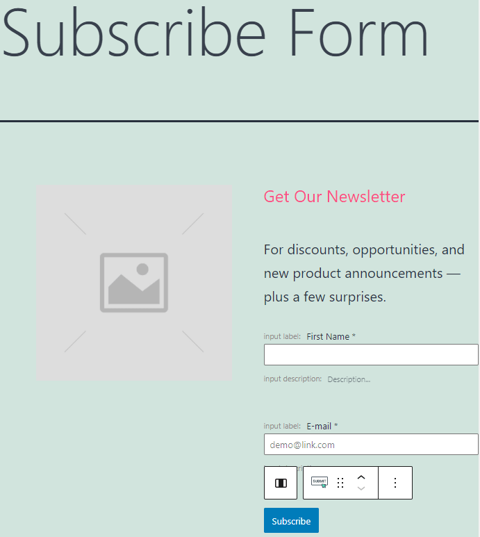 subscribe form pattern