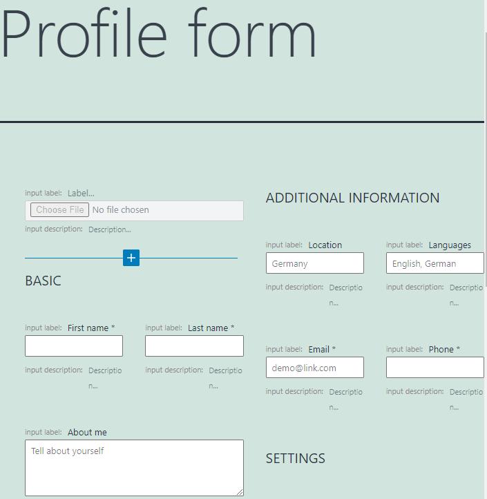 profile form pattern layout