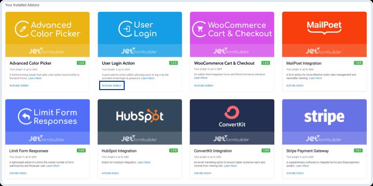user login addon installation and activation