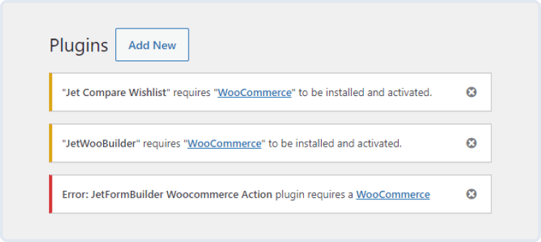 woocommerce cart & checkout addon error