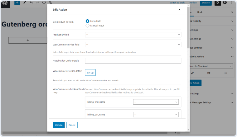 redirect to checkout action's editing window