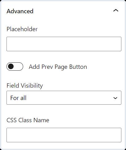 advanced text field settings