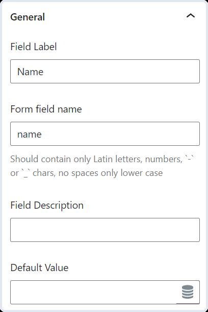 general text field settings