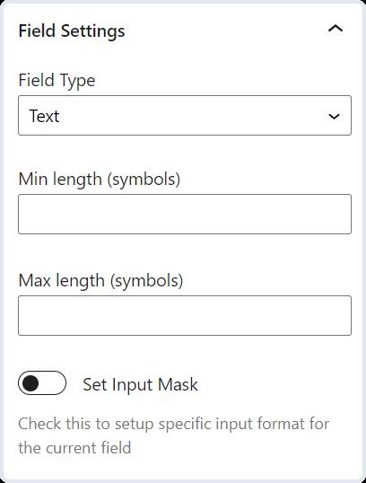 text field settings