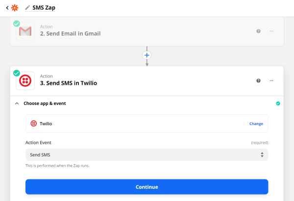 choose send sms in twilio action