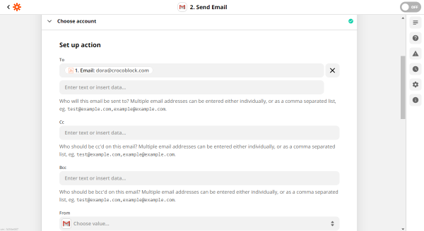 gmail set up action