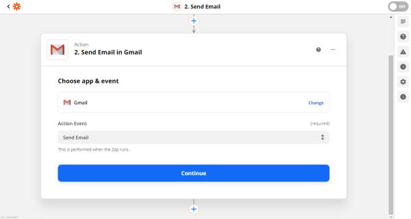 gmail action in zapier