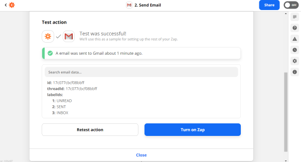 gmail test action