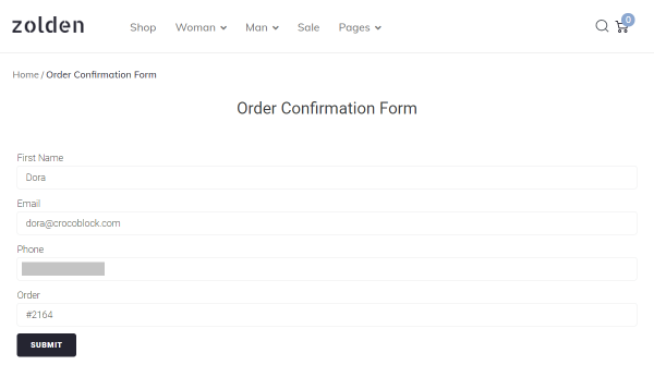 order confirmation form on the front-end