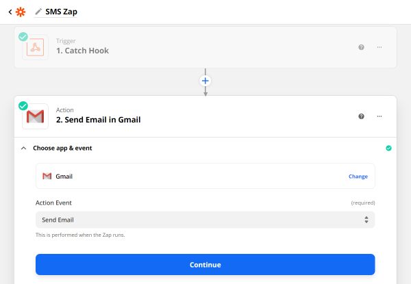 send email in gmail action