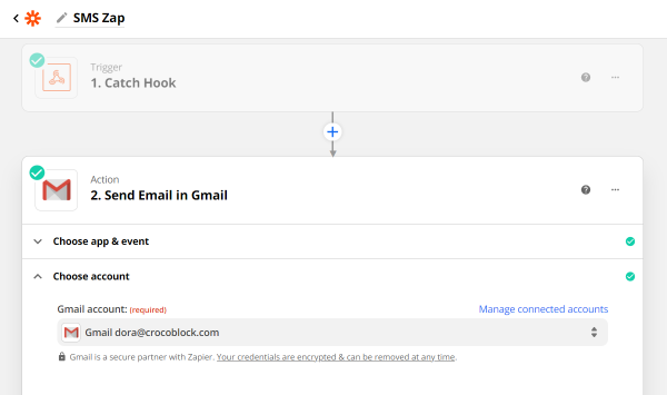 choose account for send email in gmail action