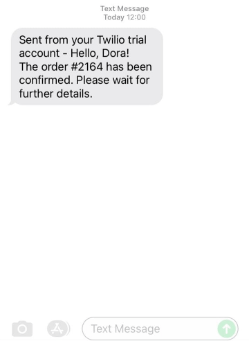 twilio text message confirmation