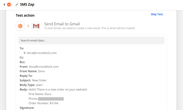 test send email to gmail action